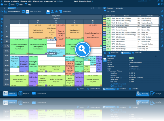 Screenshot of college scheduling software. Class schedule for one week.