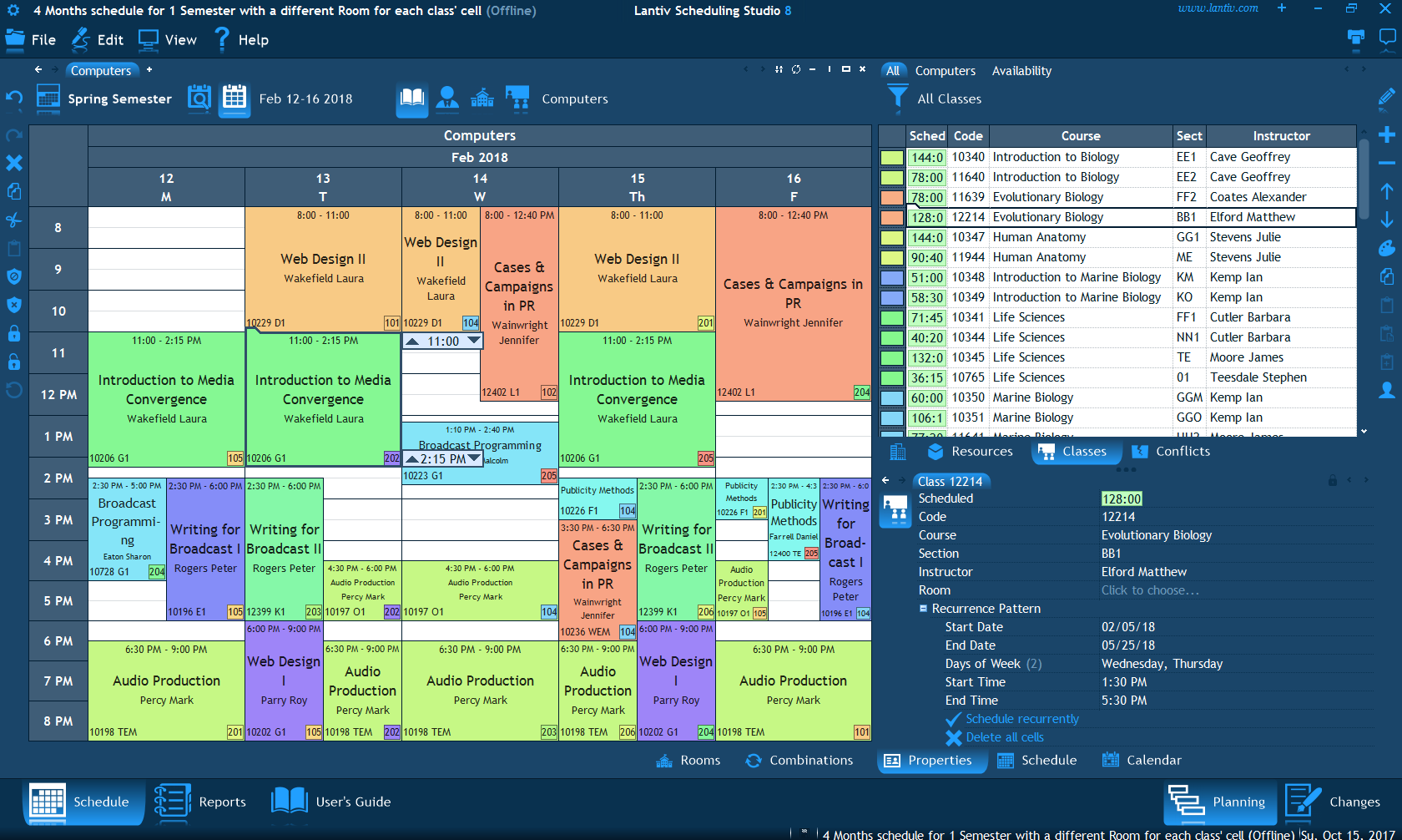 screenshot of college scheduling software class schedule for one week