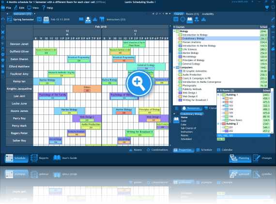 Screenshot of academic scheduling software. A schedule of multiple instructors.