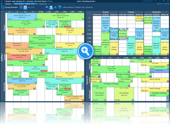 Screenshot of college scheduling software. Multiple users collaborating.