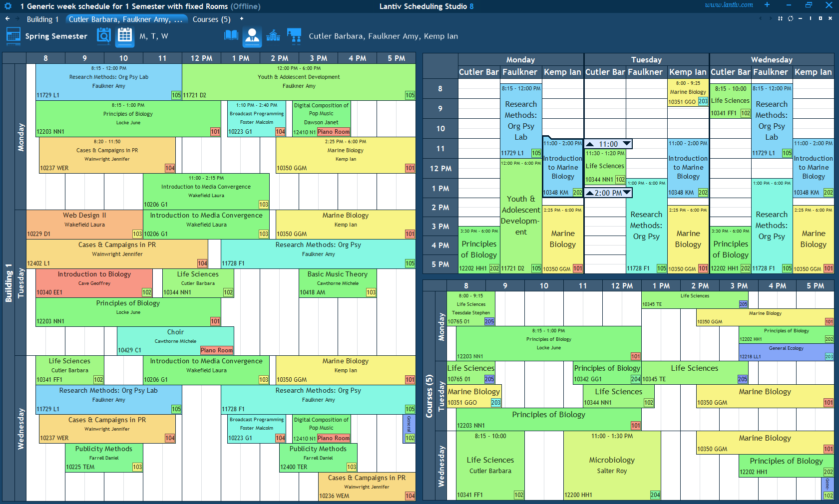 screenshot of college scheduling software multiple users collaborating