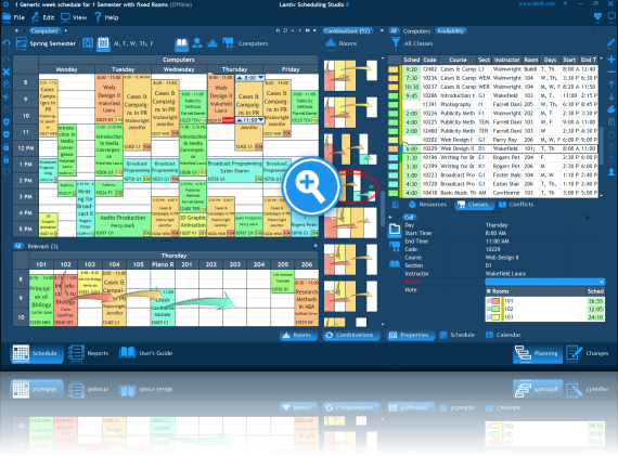Screenshot of university scheduling software. Combinations to schedule a room for an activity.