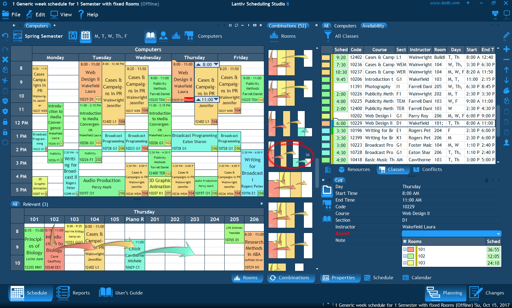 screenshot of university scheduling software combinations to schedule a room for an activity